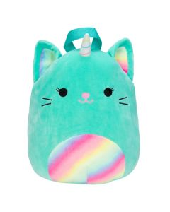 Squishmallow 12 Inch BackpackTeal Caticorn with Rainbow Belly