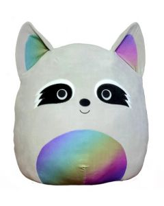 Squishmallow 12 InchGrey Raccoon with Rainbow Belly
