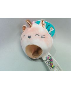 Squishmallow 3.5 inch Clip OnPink Tie Dye and Rose Gold Caticorn