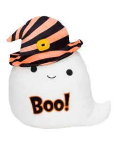 Squishmallow 12 Inch HalloweenWhite Ghost with Striped Hat and Boo