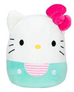 Squishmallow 8 InchHello Kitty Aqua Kitty with Pink Bow